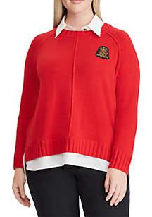 Plus Size Bullion-Patch Layered Shirt