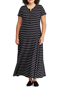 Plus Size Jersey Striped Maxi Dress