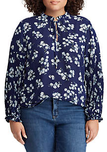 Lauren Ralph Lauren Plus Size Print Tie-Neck Georgette Top