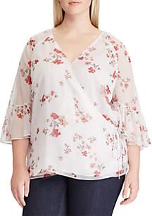 Plus Size Blondelle 3/4 Sleeve Plaid Shirt