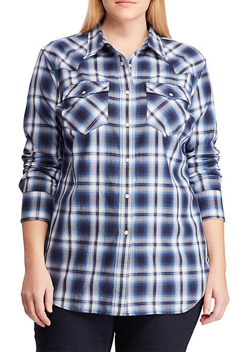 Lauren Ralph Lauren Plus Size Cotton Twill Western