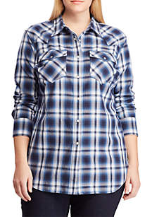 Lauren Ralph Lauren Plus Size Cotton Twill Western Shirt