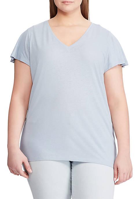 Lauren Ralph Lauren Plus Size Linen-Blend Flutter-Sleeve Tee