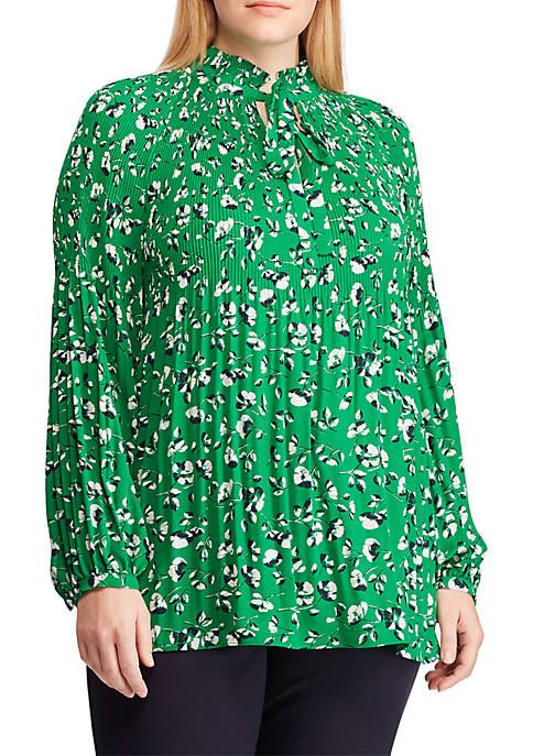 Lauren Ralph Lauren Plus Size Georgette Tie-Neck Top