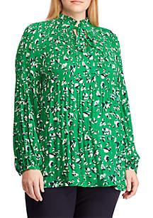 afb457936e7ac ... Lauren Ralph Lauren Plus Size Georgette Tie-Neck Top
