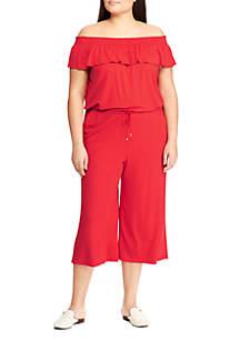 Lauren Ralph Lauren Plus Size Ruffled Wide Leg Jumpsuit