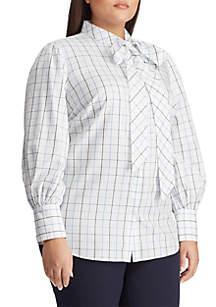 18d220bdb ... Lauren Ralph Lauren Plus Size Print Tie Neck Cotton Shirt