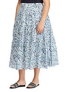 Lauren Ralph Lauren Plus Size Tiered Cotton Peasant Skirt