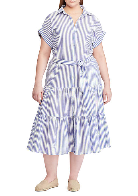 Lauren Ralph Lauren Plus Size Tiered Cotton Shirtdress