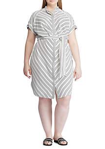 Lauren Ralph Lauren Plus Size Striped Crepe Shirtdress