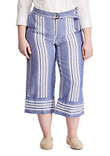 Lauren Ralph Lauren Plus Size Striped Linen Wide-Leg Pants
