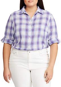 Lauren Ralph Lauren Plus Size Plaid Roll-Tab Button-Down Shirt