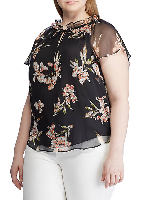 Plus Size Floral Georgette Top