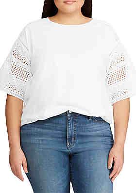 8020ec23198b94 Lauren Ralph Lauren Plus Size Eyelet-Sleeve Cotton-Blend Top ...