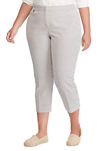 Lauren Ralph Lauren Plus Size Seersucker Skinny Pants