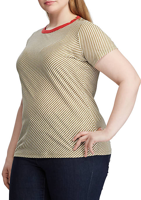 Plus Size Button Shoulder Striped Tee