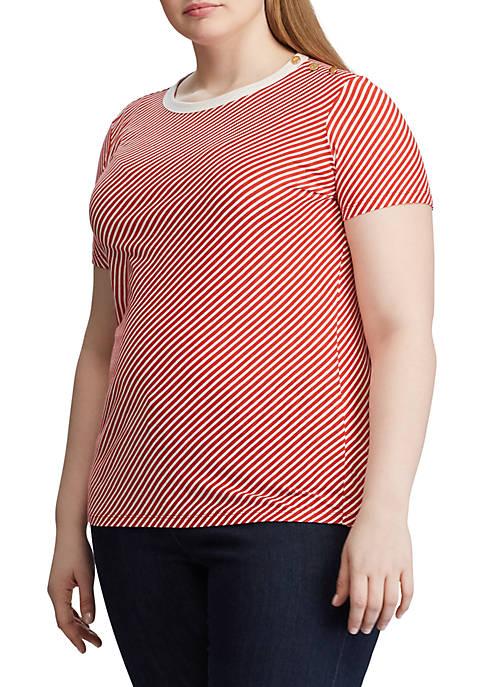 Lauren Ralph Lauren Plus Size Button Shoulder Striped