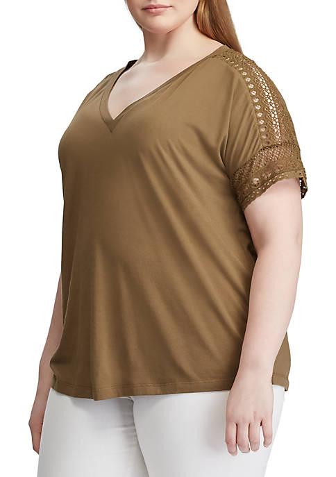 Plus Size Lace Trim Top