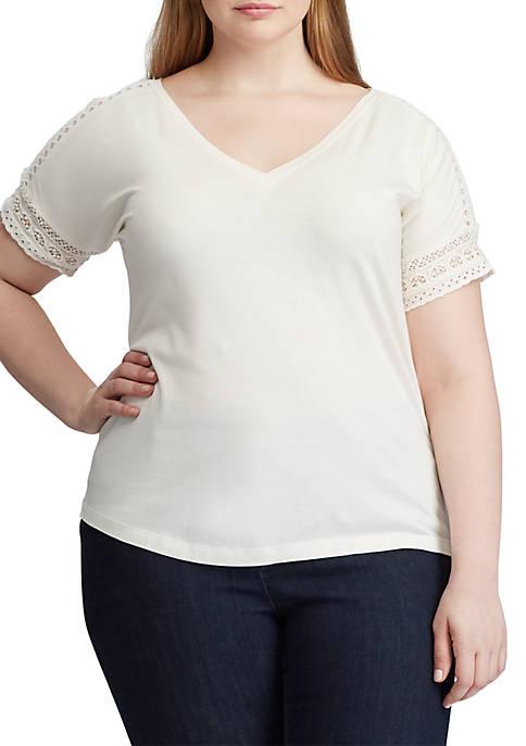 Lauren Ralph Lauren Plus Size Lace-Trim Top