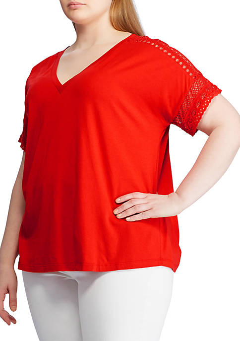 Lauren Ralph Lauren Plus Size Lace Trim Top