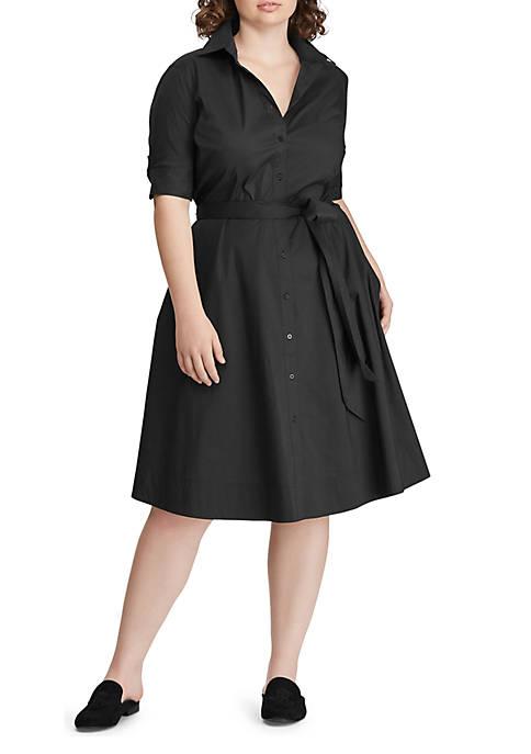 Lauren Ralph Lauren Plus Size Cotton-Blend Shirtdress