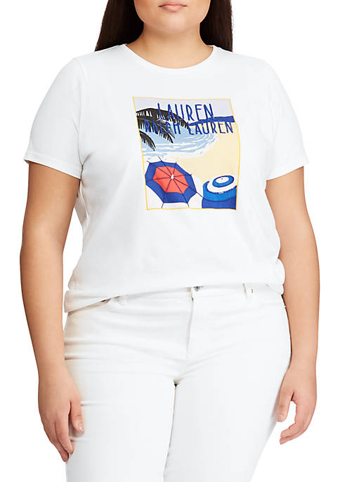 Lauren Ralph Lauren Plus Size Logo Cotton-Blend Tee