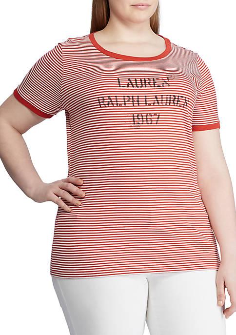 Lauren Ralph Lauren Plus Size Linen Blend Tee