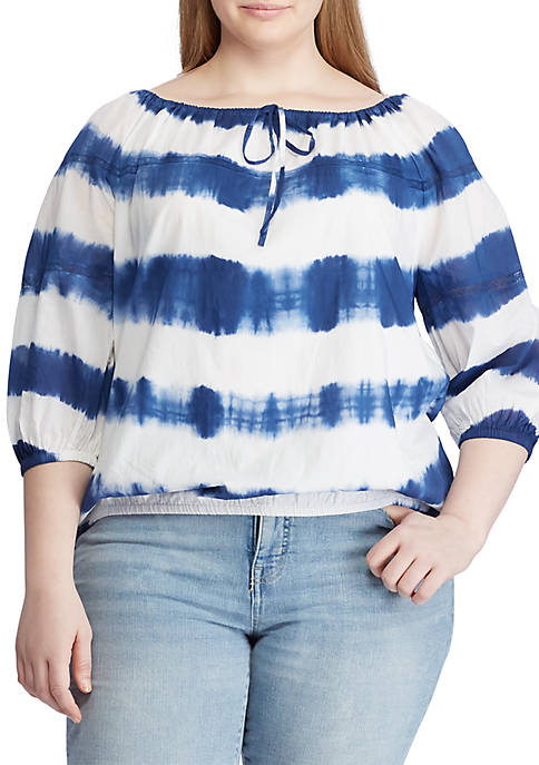 Lauren Ralph Lauren Plus Size Cotton Peasant Top