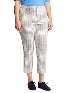 Lauren Ralph Lauren Plus Size Tattersall Cotton Twill Skinny Pant