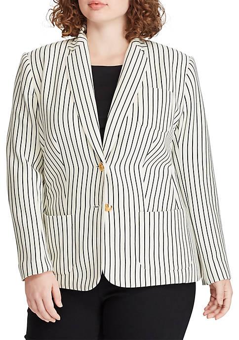 Plus Size Striped Piqué Blazer
