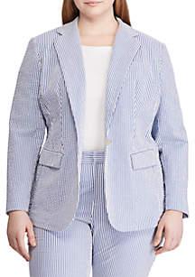 Lauren Ralph Lauren Plus Size Seersucker Blazer