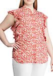 Plus Size Floral Print Crepe Top