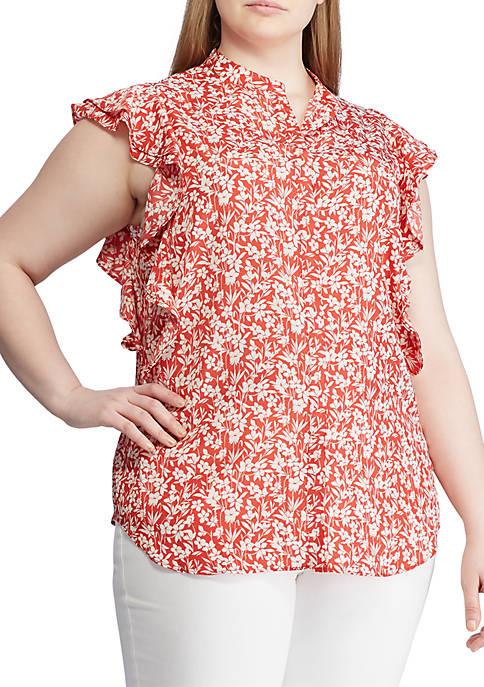 Lauren Ralph Lauren Plus Size Floral Print Crepe