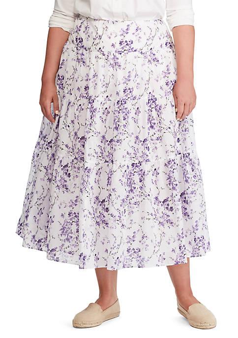 Lauren Ralph Lauren Plus Size Tiered Cotton Voile