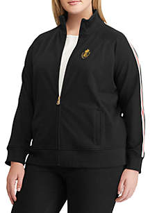 Plus Size Cotton-Blend Track Jacket