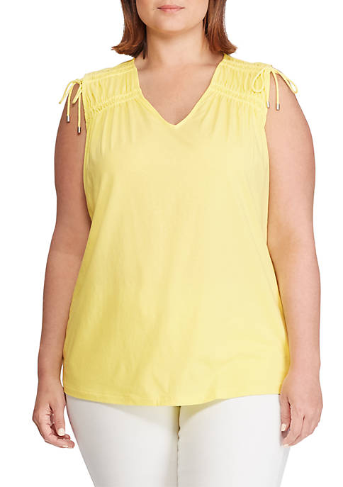 Plus Size Tassel-Trim Cinched Top