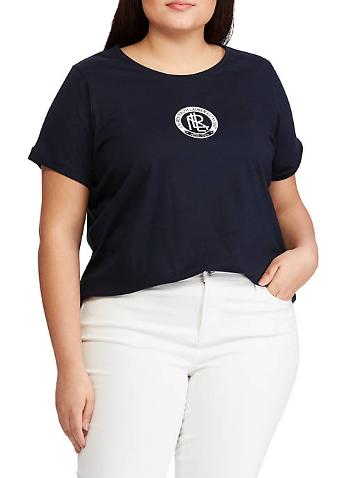 Lauren Ralph Lauren Plus Size Beaded-Graphic Cotton-Blend Top
