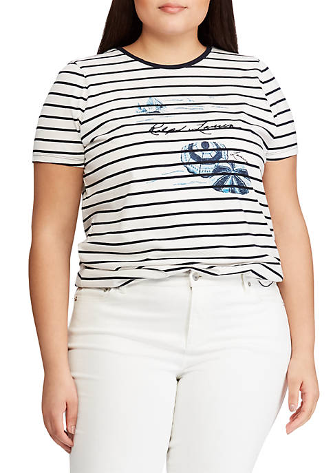 Lauren Ralph Lauren Plus Size Cotton-Blend Graphic Tee