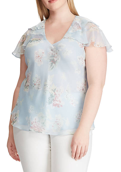 Plus Size Ruffled Floral Georgette Top
