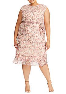 Lauren Ralph Lauren Plus Size Alistair Floral Tie Dress