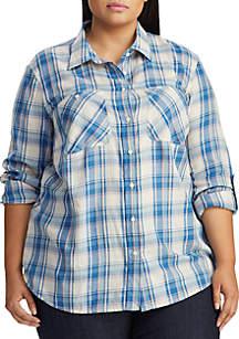 Lauren Ralph Lauren Plus Size Plaid Roll Tab Sleeve Button Down Shirt