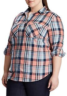 Lauren Ralph Lauren Plus Size Button Down Plaid Shirt