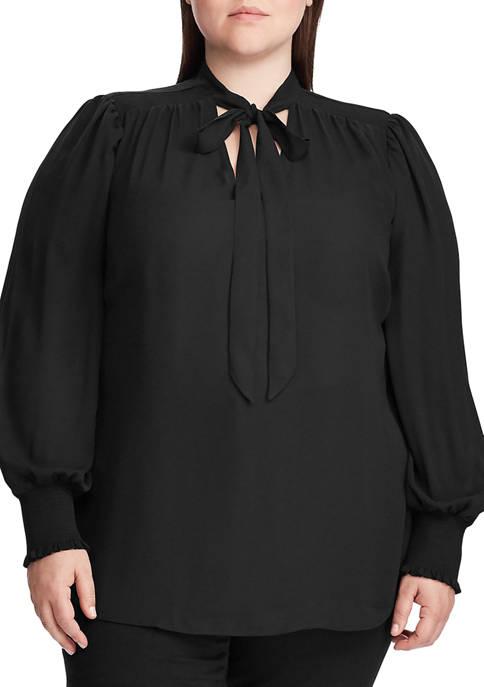 Lauren Ralph Lauren Plus Size Tie Neck Georgette