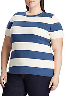 Lauren Ralph Lauren Plus Size Madara Rib Short Sleeve Sweater