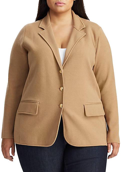 Plus Size Sweater Knit Blazer