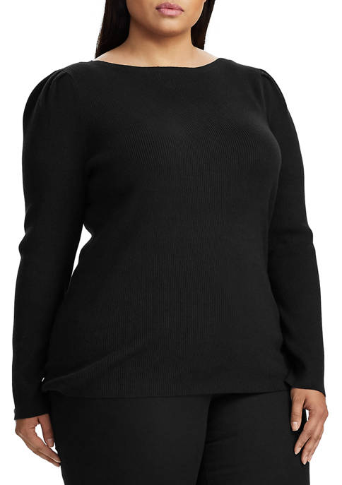 Plus Size Puff Sleeve Boatneck Sweater