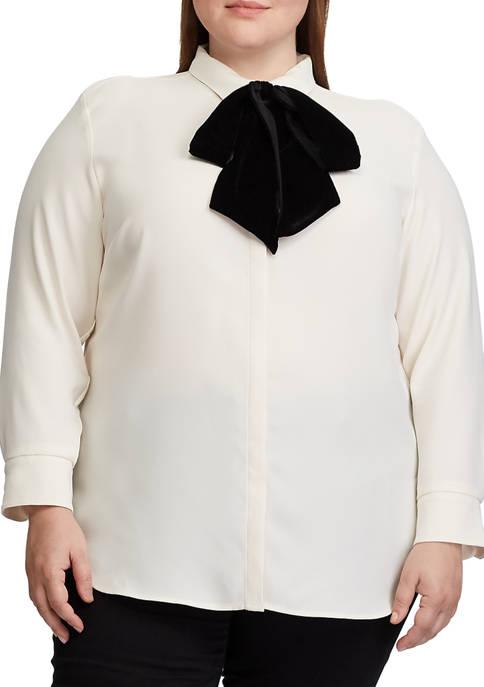 Plus Size Necktie Velvet Shirt