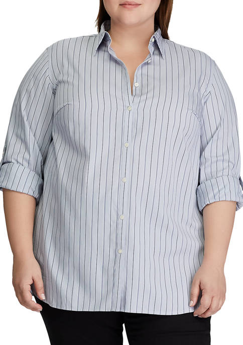 Plus Size Striped Roll Tab Sleeve Shirt