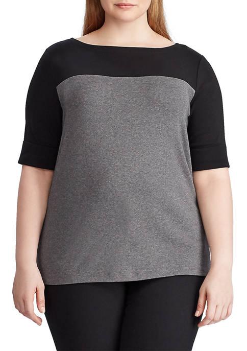 Lauren Ralph Lauren Plus Size Contrasting Panel Cotton