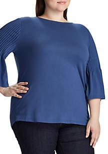 Lauren Ralph Lauren Plus Size Caylen Pleated Sleeve Knit Top